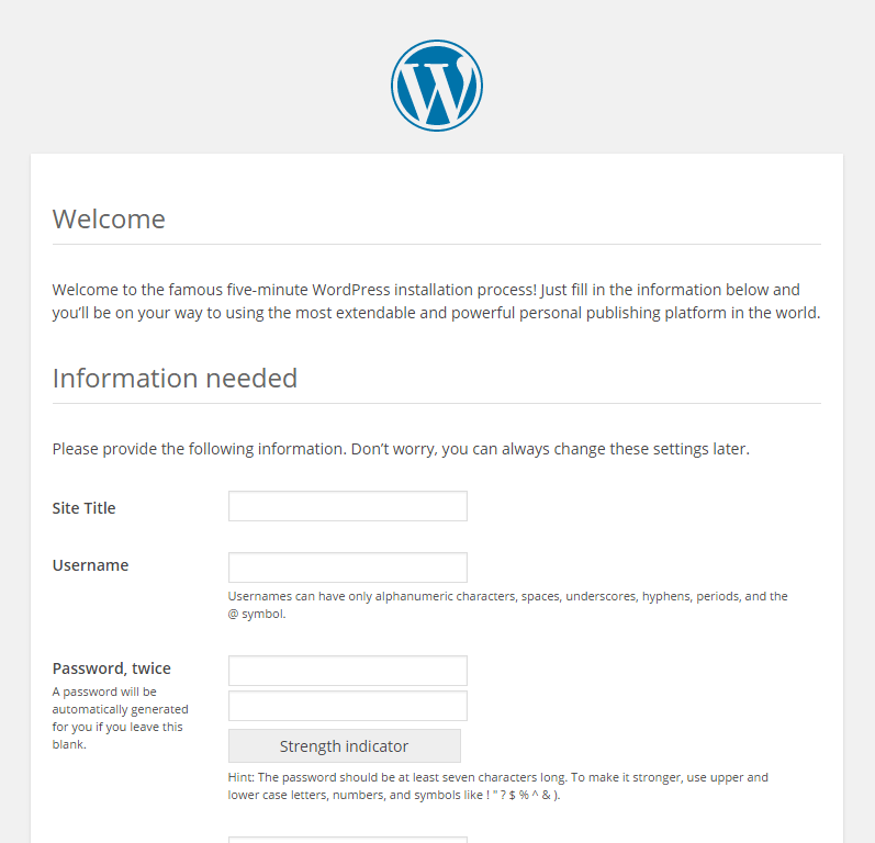 Wordpress Manual Installation